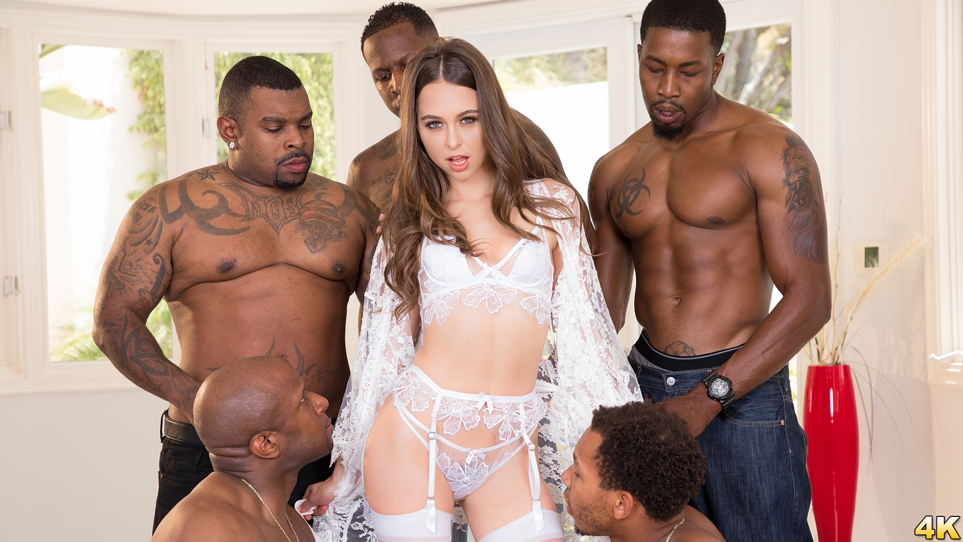 Riley Reid Interracial Gangbang! No Holes Barred! Where Will All Those Big Black Cocks Go?